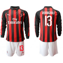 2018/19 AC Milan 13 ROMAGNOLI Home Long Sleeve Soccer Jersey