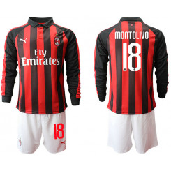 2018/19 AC Milan 18 MONTOLIVO Home Long Sleeve Soccer Jersey