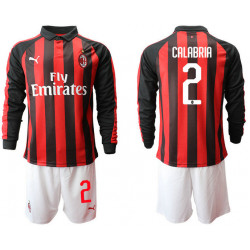 2018/19 AC Milan 2 CALABRIA Home Long Sleeve Soccer Jersey