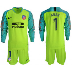 2018/19 Atletico Madrid 1 ADAN Fluorescent Green Long Sleeve Goalkeeper Soccer Jersey