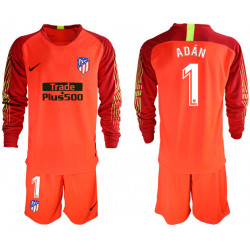2018/19 Atletico Madrid 1 ADAN Red Long Sleeve Goalkeeper Soccer Jersey