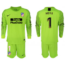 2018/19 Atletico Madrid 1 MOYA Fluorescent Green Goalkeeper Long Sleeve Soccer Jersey