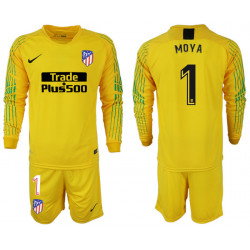 2018/19 Atletico Madrid 1 MOYA Yellow Goalkeeper Long Sleeve Soccer Jersey