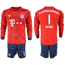 2018/19 Bayern Munich 1 NEUER Home Long Sleeve Soccer Jersey