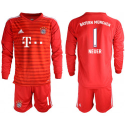 2018/19 Bayern Munich 1 NEUER Red Long Sleeve Soccer Jersey