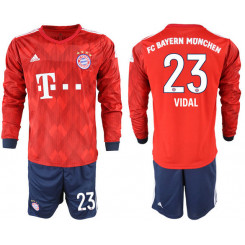 2018/19 Bayern Munich 23 VIDAL Home Long Sleeve Soccer Jersey