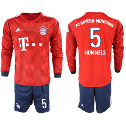 2018/19 Bayern Munich 5 HUMMELS Home Long Sleeve Soccer Jersey