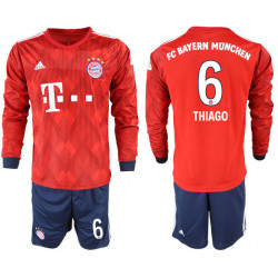 2018/19 Bayern Munich 6 THIAGO Home Long Sleeve Soccer Jersey