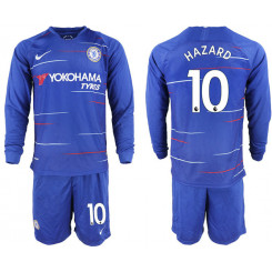 2018/19 Chelsea 10 HAZARD Home Long Sleeve Soccer Jersey