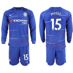 2018/19 Chelsea 15 MOSES Home Long Sleeve Soccer Jersey