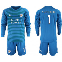 2018/19 Leicester City 1 SCHMEICHEL Blue Long Sleeve Goalkeeper Soccer Jersey