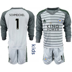 Kid's 2018/19 Leicester City 1 SCHMEICHEL Gray Long Sleeve Goalkeeper Soccer Jersey