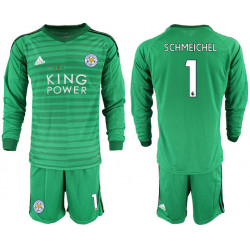 2018/19 Leicester City 1 SCHMEICHEL Green Long Sleeve Goalkeeper Soccer Jersey