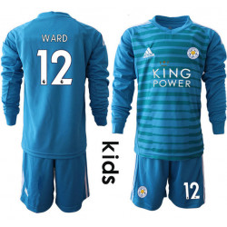 Kid's 2018/19 Leicester City 12 WARD Blue Long Sleeve Goalkeeper Soccer Jersey