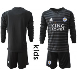 Kid's 2018/19 Leicester City Black Long Sleeve Goalkeeper Soccer Jersey