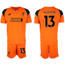 2018/19 Liverpool 13 ALISSON Orange Goalkeeper Soccer Jersey