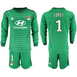 2018/19 Olympique Lyonnais 1 LOPES Green Long Sleeve Goalkeeper Soccer Jersey