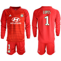 2018/19 Olympique Lyonnais 1 LOPES Red Long Sleeve Goalkeeper Soccer Jersey