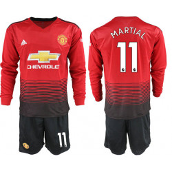 2018/19 Manchester United 11 MARTIAL Home Long Sleeve Soccer Jersey