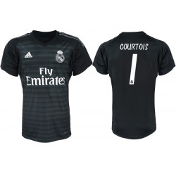 2018/19 Real Madrid 1 COURTOIS Black Goalkeeper Soccer Jersey
