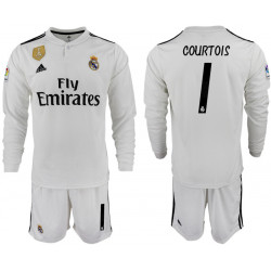 2018/19 Real Madrid 1 COURTOIS Home Long Sleeve Soccer Jersey