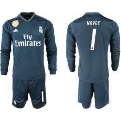 2018/19 Real Madrid 1 NAVAS Away Long Sleeve Soccer Jersey