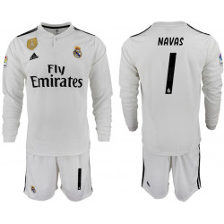 2018/19 Real Madrid 1 NAVAS Home Long Sleeve Soccer Jersey