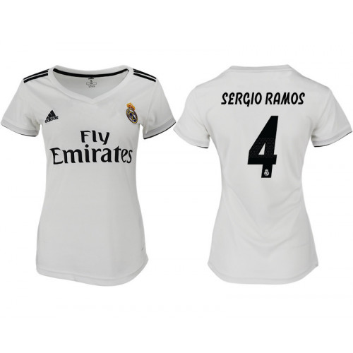 Women's 2018/19 Real Madrid 4 SERGIO RAMOS Home Soccer Jersey