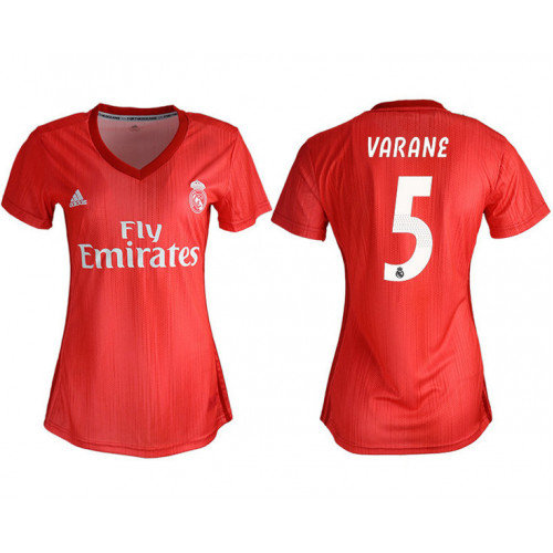 Women's 2018/19 Real Madrid 5 VARANE Away Soccer Jersey