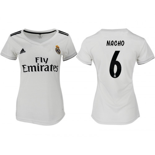 Women's 2018/19 Real Madrid 6 NACHO Home Soccer Jersey