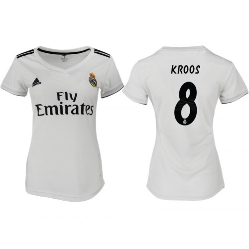 Women's 2018/19 Real Madrid 8 KROOS Home Soccer Jersey
