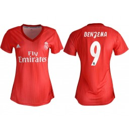 Women's 2018/19 Real Madrid 9 BENZEMA Away Soccer Jersey