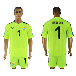 2018 Fifa World Cup Uruguay Fluorescent Green Goalkeeper Jersey