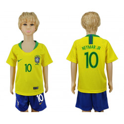 Kids 2018 Fifa World Cup Brazil Home Kids 10# Jersey