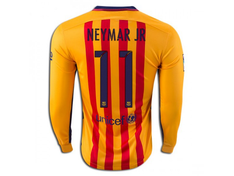 get cheap e7d9a 42712 2015/16 Barcelona #11 Neymar JR Long Sleeve Away Jersey