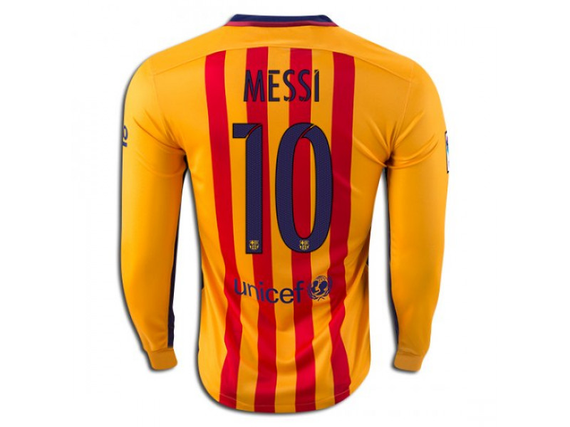 wholesale dealer 3106a e4d8f 2015/16 Barcelona #10 Lionel Messi Long Sleeve Away Jersey